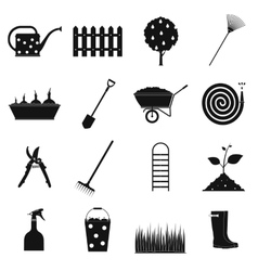 16 garden plain icons set vector image