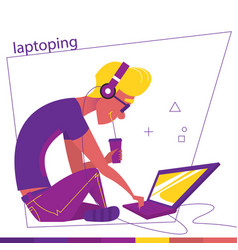 a man is sitting and laptoping a man and laptop vector image