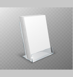 Acrylic holder table display with blank cards vector