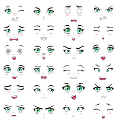 anime female characters facial kawaii expressions vector image