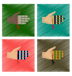 Assembly flat shading style icons bloody hand vector