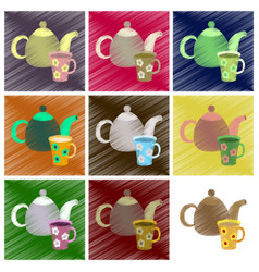 assembly flat shading style icons tea kettle and vector image