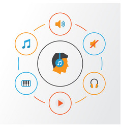 Audio flat icons set collection of male tone vector