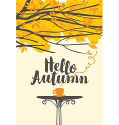 Autumn banner with a cup hot drink vector