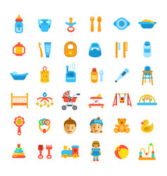 baby care flat icons vector image