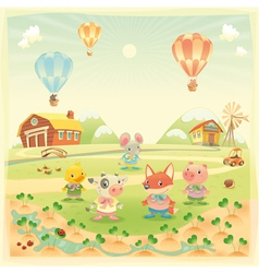 Baby farm animals in the countryside vector image