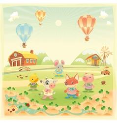 bafarm animals in countryside vector image
