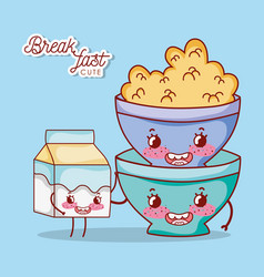 breakfast cute bowl with cereal and milk box vector image