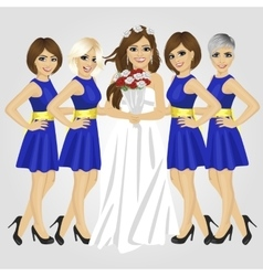Bride posing with group of her bridesmaids vector