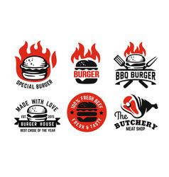 Burger emblem on fire set for menu vector