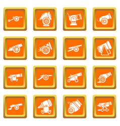 cannon retro icons set orange square vector image