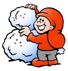 Cartoon an happy elf building snowball vector