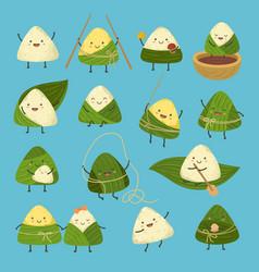 cartoon dumplings dragon boat festival cute rice vector image