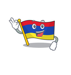 Cartoon flag armenia isolated in character okay vector