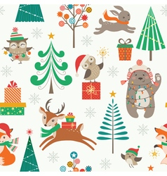 Christmas patter with cute animals vector image
