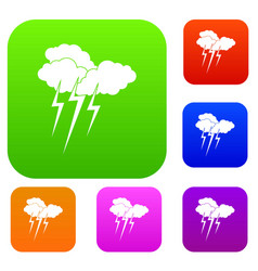 cloud with lightnings set collection vector image