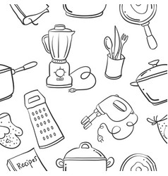 Collection stock kitchen set pattern hand draw vector