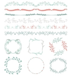 Colorful Hand Sketched Seamless Borders Frames vector