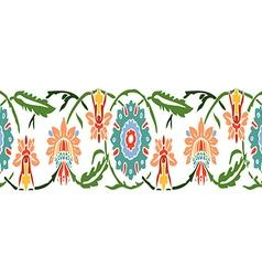 Colorful vintage wildflowers border floral vector