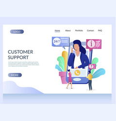 customer support website landing page vector image