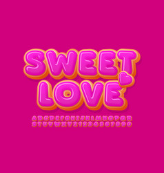 cute card sweet love donut alphabet set vector image