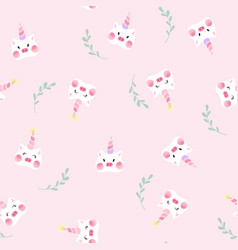 cute unicorn pig seamless pattern vector image
