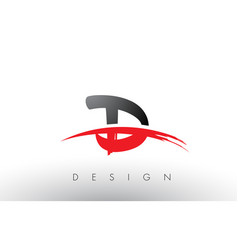 D brush logo letters with red and black swoosh vector