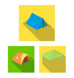 Different kinds of tents flat icons in set vector