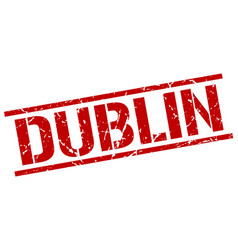 Dublin red square stamp vector