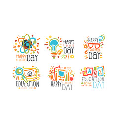 Educational and teacher day labels and badges vector