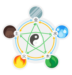 feng shui 5 elements nature in circles vector image
