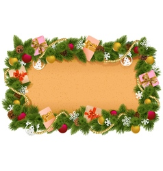 Fir Frame with Paper Scroll vector image vector image