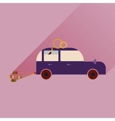 Flat icon with long shadow wedding car vector