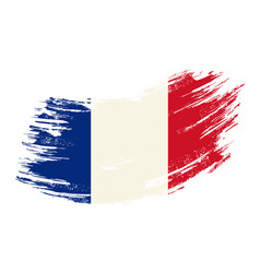 french flag grunge brush background vector image