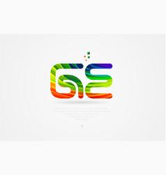 Ge g e rainbow colored alphabet letter logo vector