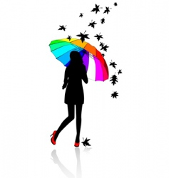 girl under umbrella vector image