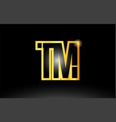 Gold black alphabet letter tm t m logo vector