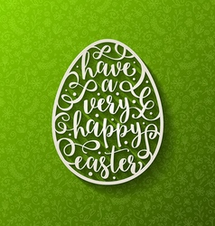 Greeting card - Easter egg with calligraphic vector