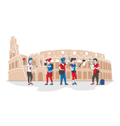 Group young people with backpacks and photo vector
