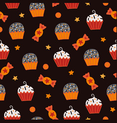 halloween seamless pattern with cupcakes candies vector image