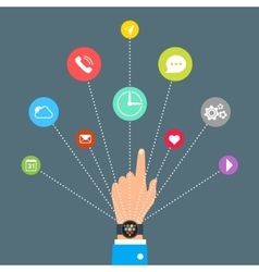Hand with Smart Watch and technology functions vector image vector image