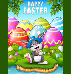 Happy easter bunny wearing a hat carrying easter e vector