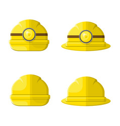 hard hat flat graphic icon set vector image