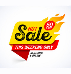 Hot sale banner this weekend special offer big vector