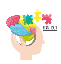 human silhouette with abstrac brain puzzle vector image