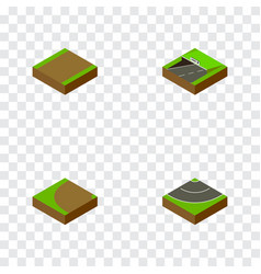 Isometric road set of turning road subway and vector