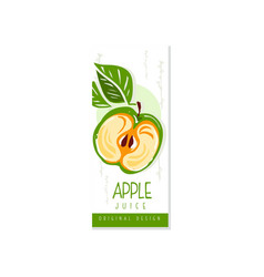 Juice fruit label with half of green apple and vector