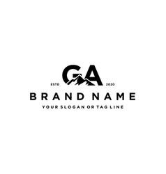 Letter ga mountain logo design vector