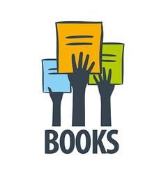 Logo hands holding a books vector