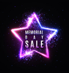 memorial day sale text in glowing star neon sign vector image